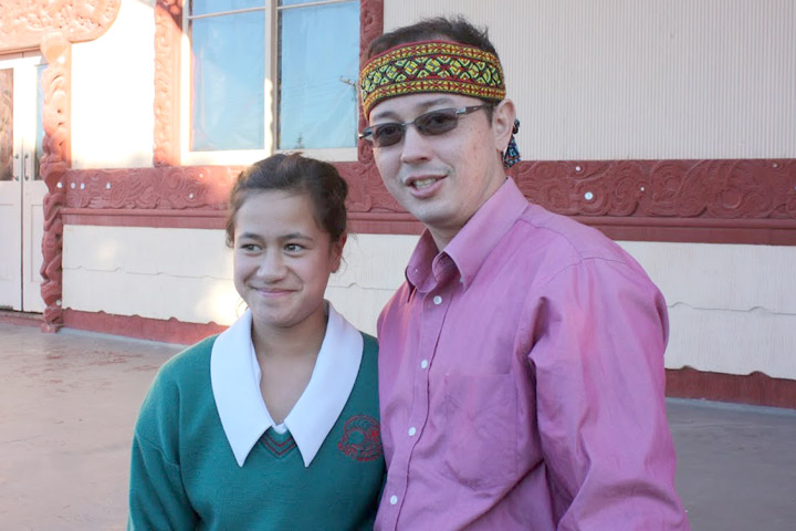 Tony with a young Maori lead actress from Whangai Girl.